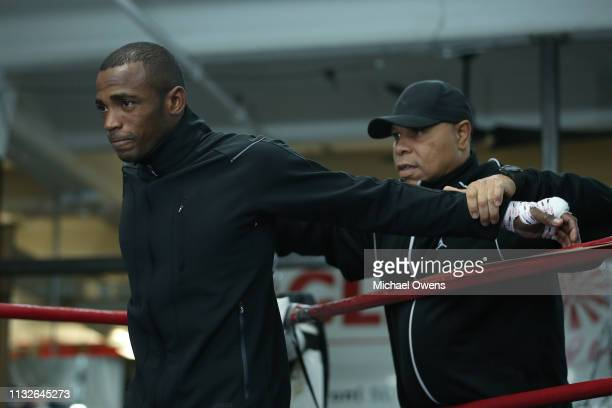 Erislandy Lara practices during the media workout at Gleason s Gym on  February 27 2019 in the 23a529740794