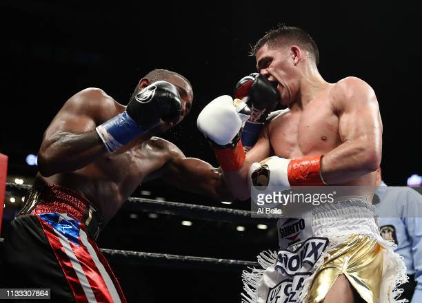 Erislandy Lara punches Brian Castano during their WBA regular junior middleweight title fightat Barclays Center on March 02 2019 in New York City
