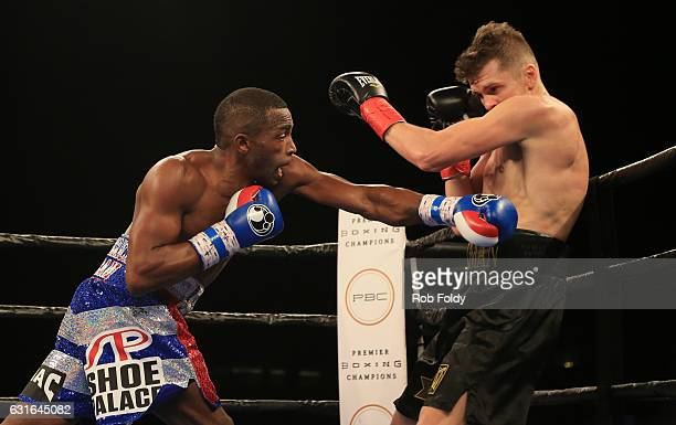Erislandy Lara throws a punch against Yuri Foreman during the first round of their WBA World Super Welterweight Championship bout at Hialeah Park on...