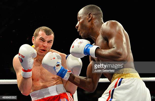 Erislandy Savon Cotilla of Cuba Domadores knocks out IonutMirel Jitaru of British Lionhearts with an upper cut during his Heavyweight 91kg fight...