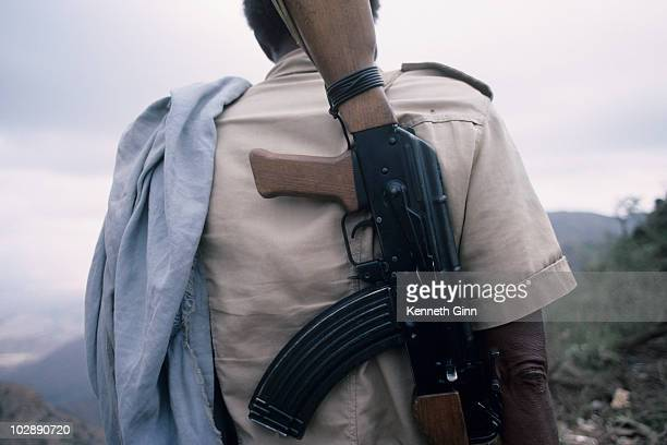 An Eritrean soldier carries an Ak47 rifle on patrol.