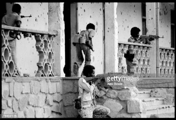 Eritrean liberation forces skirmish with the Ethiopian army around the bullet scarred town of Nagfa 10th July 1978