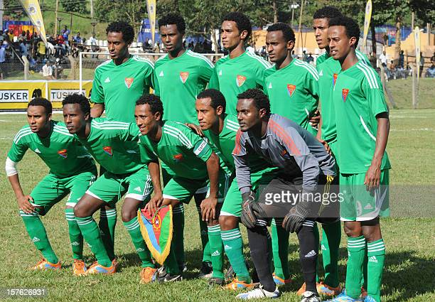 Eritrean national football team players pose on December 1, 2012 before a match against the Rwandan national team during the Council for East and...