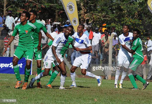 Eritrean national football team players, wearing green outfits, play on December 1, 2012 against the Rwandan national team during the Council for...