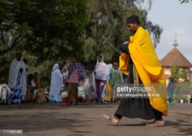 Eritrean orthodox priest in enda mariam orthodox cathedral, Central region, Asmara, Eritrea on August 18, 2019 in Asmara, Eritrea.
