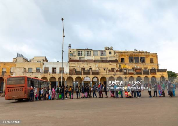 Eritrean people queueing to take the bus, Central region, Asmara, Eritrea on August 17, 2019 in Asmara, Eritrea.