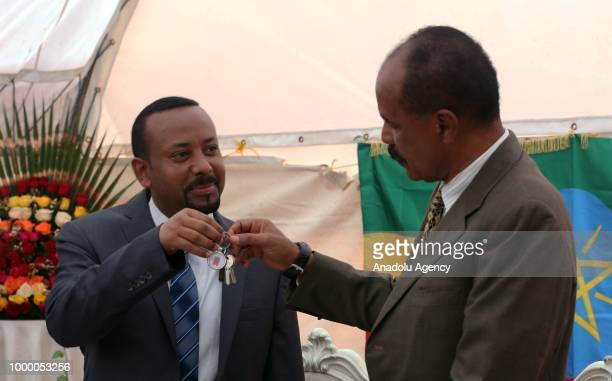Eritrean President Isaias Afewerki and Ethiopian Prime Minister Abiy Ahmed attend the inauguration ceremony of Embassy of Eritrea in Addis Ababa...