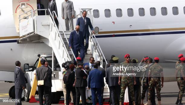 Eritrean President Isaias Afewerki arrives at the Addis Ababa Bole International Airport after 20 years in Addis Ababa Ethiopia on July 14 2018