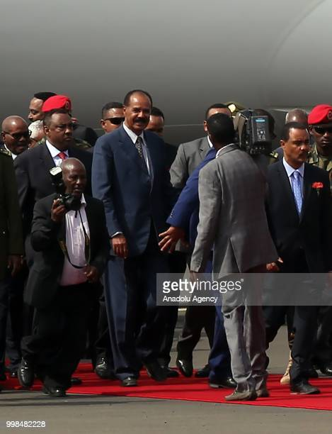 Eritrean President Isaias Afewerki is being welcomed by Ethiopian Prime Minister Abiy Ahmed at the Addis Ababa Bole International Airport after 20...