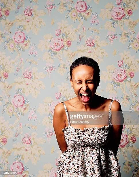 eritrean woman screaming. - shouting stock pictures, royalty-free photos & images