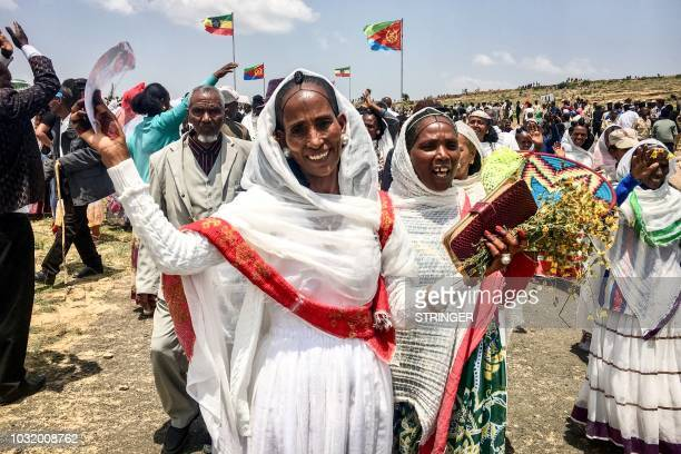 Eritrean women express their joy after crossing the boarder to attend the reopening border ceremony on September 11 2018 as two land border crossings...