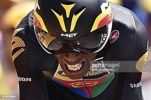Eritrea's Daniel Teklehaimanot competes in a 138 km individual timetrial the first stage of the 102nd edition of the Tour de France cycling race on...
