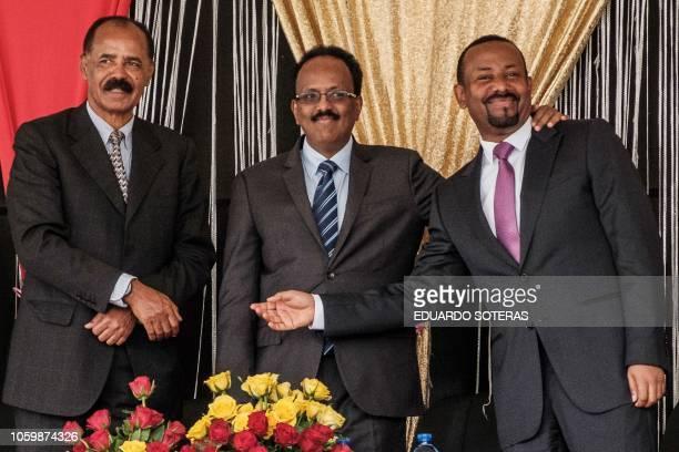 Eritrea's President Isaias Afwerki Ethiopia's Prime Minister Abiy Ahmed and Somalia's President Mohamed Abdullahi Mohamed pose during the...