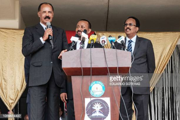Eritrea's President Isaias Afwerki makes a speech with Ethiopia's Prime Minister Abiy Ahmed and Somalia's President Mohamed Abdullahi Mohamed during...