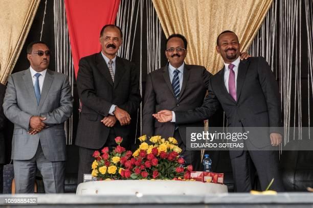 Eritrea's President Isaias Afwerki Somalia's President Mohamed Abdullahi Mohamed Ethiopia's Prime Minister Abiy Ahmed and Ethiopia's Deputy Prime...