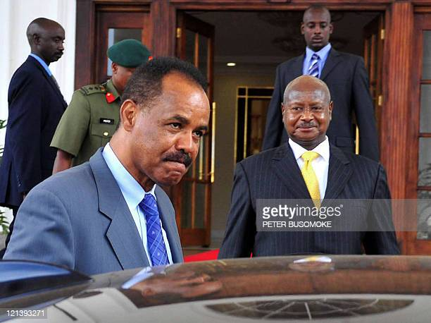 Eritrea's President Issaias Aferworki departs August 19 2011 Entebbe State House at the end of a fourday state visit as his Uganda's counterpart...