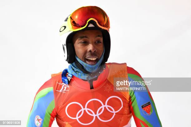 Eritrea's Shannon Abeda reacts after competing in the Men's Giant Slalom at the Jeongseon Alpine Center during the Pyeongchang 2018 Winter Olympic...