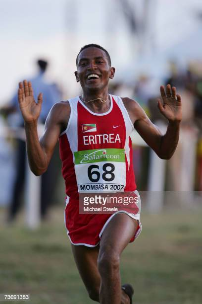 Eritrea's Zerseney Tadesse celebrates winning the men's senior race at the IAAF World Cross Country Championships on March 24 2007 in Mombasa Kenya