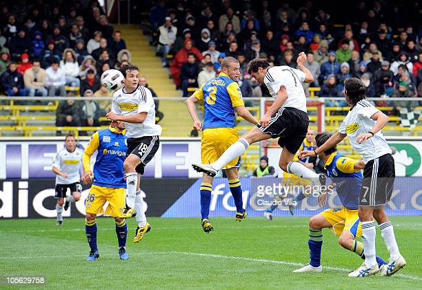 Erjon Bogdani of AC Cesena scores the first goal during the Serie A match between AC Cesena and Parma FC at Dino Manuzzi Stadium on October 17, 2010...