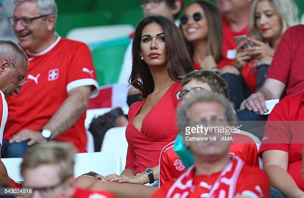 Erjona Sulejmani the wife of Blerim Dzemaili of Switzerland during the UEFA EURO 2016 Round of 16 match between Switzerland v Poland at Stade...