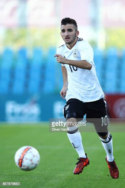 Erkan Eyibil of Germany and in action during the Mens U17 international friendly match between Denmark and Germany at Sydbank Park Stadion on October...