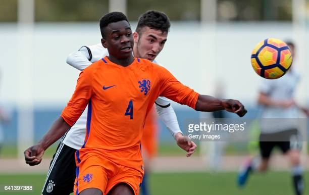 Erkan Eyibil of Germany U16 challenges Cristopher Mamengi of Netherlands U16 during the UEFA Development Tournament Match between Germany U16 and...