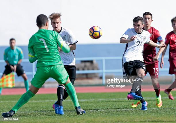 Erkan Eyibil of Germany U16 challenges Joao Monteiro of Portugal U16 during the UEFA Development Tournament Match between Germany U16 and Portugal...