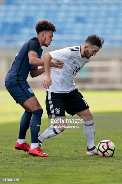 Erkan Eyibil of Germany U17 chalenges Dylan Crowe of England U17 during U17Juniors Algarve Cup match between U17 Germany and U17 England at Algarve...