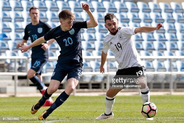 Erkan Eyibil of Germany U17 chalenges Matt Daly of England U17 during U17Juniors Algarve Cup match between U17 Germany and U17 England at Algarve...