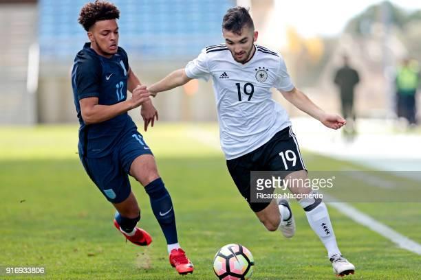 Erkan Eyibil of Germany U17 challenges Dylan Crowe of England U17 during U17Juniors Algarve Cup match between U17 Germany and U17 England at Algarve...