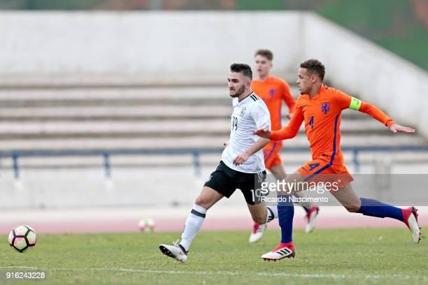 Erkan Eyibil of Germany U17 challenges Liam van Gelderen of Netherlands U17 during U17Juniors Algarve Cup match between U17 Netherlands and U17...