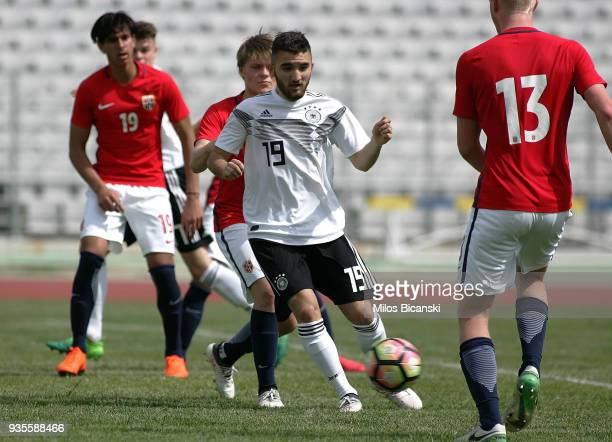 Erkan Eyibil of Germanyin action during the Germany vs Norway U17 at Pampeloponnisiako Stadium on March 21 2018 in Patras Greece