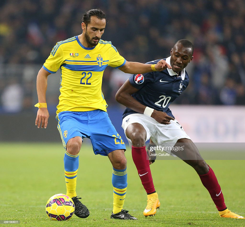 Erkan Zengin of Sweden and Josuha Guilavogui of France in action during the international friendly match between France and Sweden at the New Stade Velodrome on November 18, 2014 in Marseille, France.