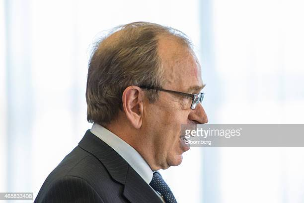 Erkki Liikanen governor of the Bank of Finland speaks as he addresses the European Central Bank and its watchers conference in Frankfurt Germany on...