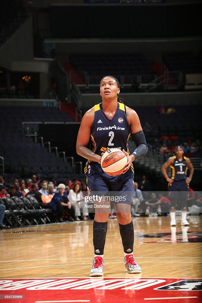 Erlana Larkins #2 of the Washington Mystics shoots a free throw against the Indiana Fever in Game Two of the Eastern Conference Semifinals during the 2014 WNBA Playoffs on August 23, 2014 at the Verizon Center in Washington, DC.