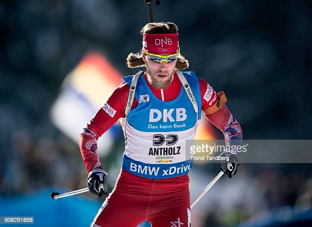 Erlend Bjoentegaard of Norway in action during the Biathlon Men 10 km Sprint at the IBU Biathlon World Cup Antholtz on January 22 2016 in Antholtz...