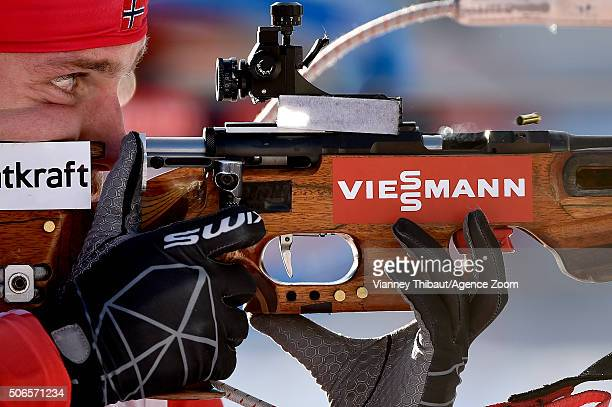 Erlend Bjoentegaard of Norway takes 3rd place during the IBU Biathlon World Cup Men's and Women's Relay on January 24 2016 in AntholzAnterselva Italy