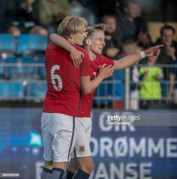 Erlend Reitan Morten Thorsby of Norway celebrates goal during the Qualifying Round European Under 21 Championship 2019 between Norway v Kosovo at...