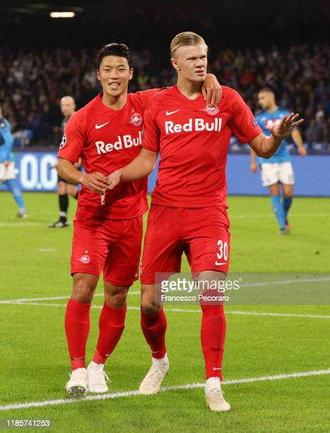 Erling Braut Haaland and HeeChan Hwang of RB Salzburg celebrate the 01 goal scored by Erling Braut Haaland during the UEFA Champions League group E...