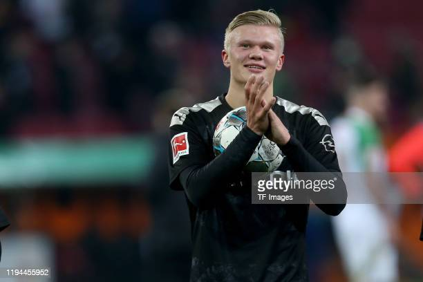 Erling Braut Haaland of Borussia Dortmund celebrate after winning the Bundesliga match between FC Augsburg and Borussia Dortmund at WWKArena on...
