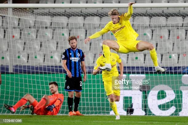 Erling Braut Haaland of Borussia Dortmund celebrates 0-2 during the UEFA Champions League match between Club Brugge v Borussia Dortmund at the Jan...