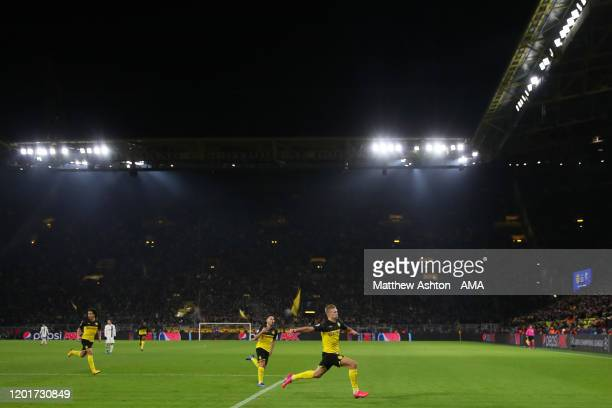 Erling Braut Haaland of Borussia Dortmund celebrates after scoring a goal to make it 21 during the UEFA Champions League round of 16 first leg match...