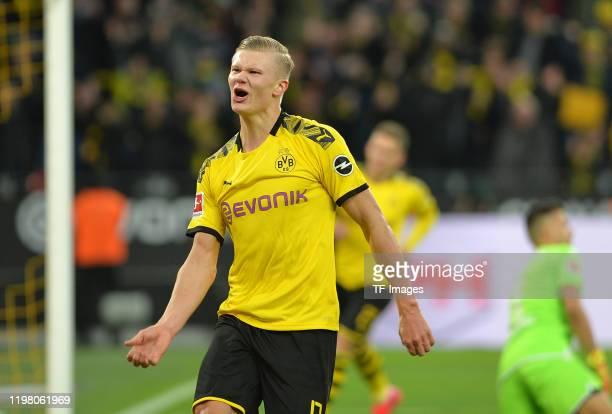Erling Braut Haaland of Borussia Dortmund celebrates after scoring his teams fifth goal during the Bundesliga match between Borussia Dortmund and 1...