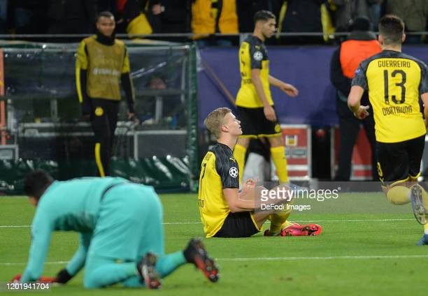 Erling Braut Haaland of Borussia Dortmund celebrates after scoring his teams first goal during the UEFA Champions League round of 16 first leg match...