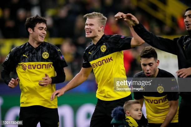 Erling Braut Haaland of Borussia Dortmund celebrates the victory, with Julian Weigl of Borussia Dortmund during the UEFA Champions League match...