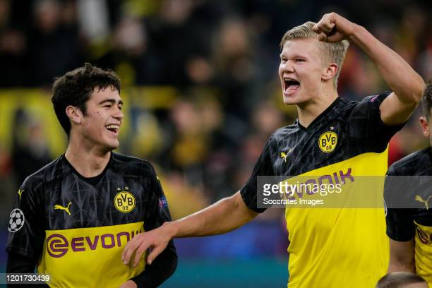 Erling Braut Haaland of Borussia Dortmund celebrates the victory, with Julian Weigl of Borussia Dortmund during the UEFA Champions League match...