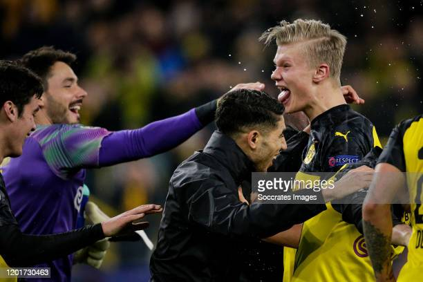Erling Braut Haaland of Borussia Dortmund celebrates the victory with Achraf Hakimi of Borussia Dortmund during the UEFA Champions League match...