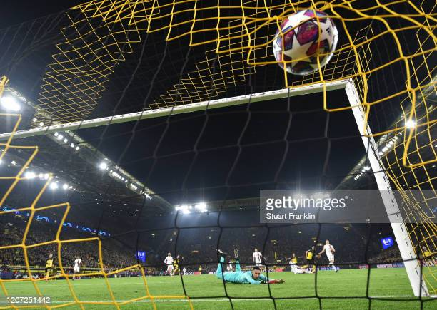 Erling Braut Haaland of Dortmund scores his second goal during the UEFA Champions League round of 16 first leg match between Borussia Dortmund and...