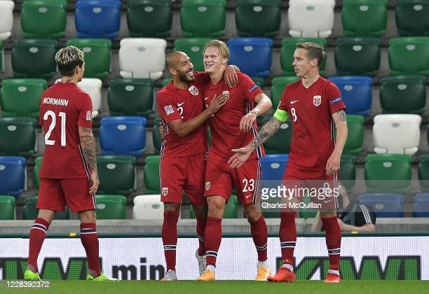 Erling Braut Haaland of Norway celebrates after scoring his team's fifth goal during the UEFA Nations League group stage match between Northern...