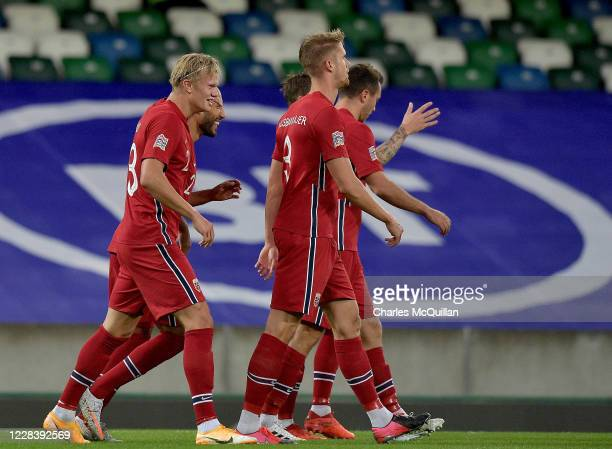 Erling Braut Haaland of Norway celebrates after scoring his team's second goal during the UEFA Nations League group stage match between Northern...